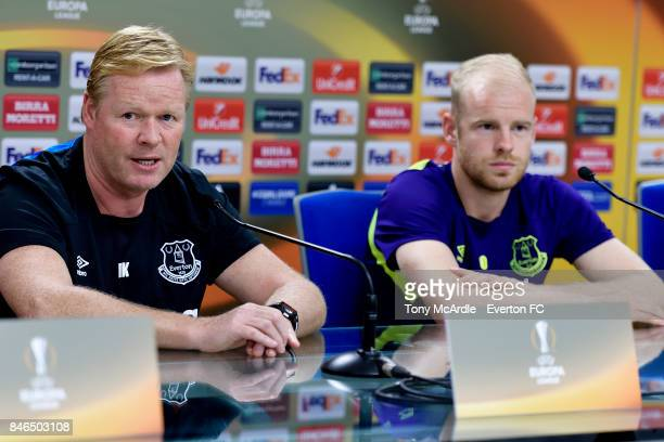 Ronald Koeman and Davy Klaassen during the Everton press conference on the eve of their UEFA Europa League group E match against Atalanta at Mapei...