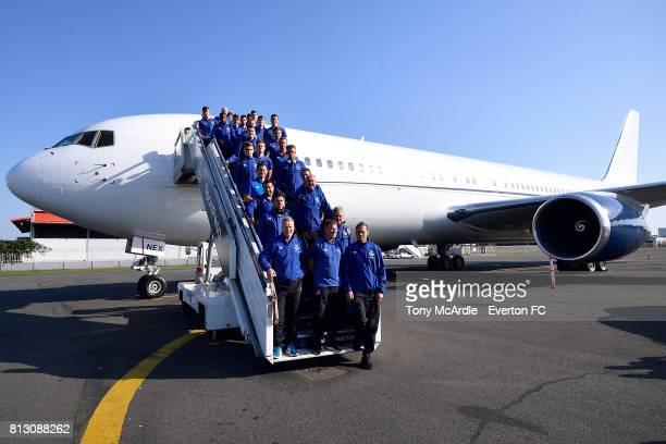 Ronald Koeman and his Everton team arrive in DarEsSalaam on July 12 2017 in Halewood England
