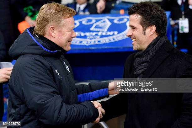 Ronald Koeman and Marco Silva of Hull greet before during the Premier League match between Everton and Hull City at the Goodison Park on March 18...