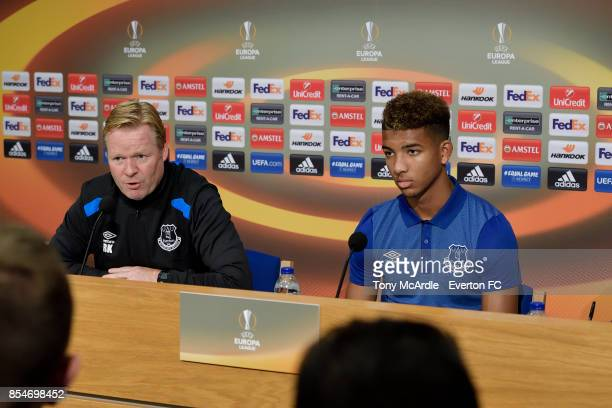 Ronald Koeman and Mason Holgate during the Everton press conference at USM Finch Farm on September 27 2017 in Halewood England