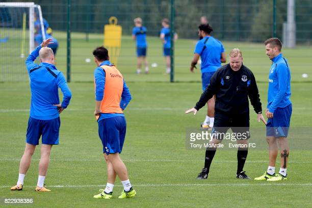 Ronald Koeman and Morgan Schneiderlin during the Everton FC training session at USM Finch Farm on July 25 2017 in Halewood England