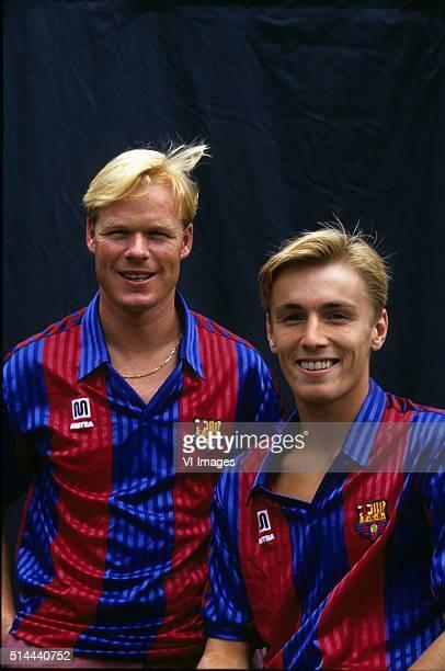 Ronald Koeman and Richard Witschge during a photoshoot at the season 1991/1992 at Barcelona Spain