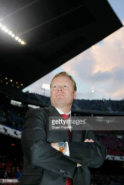 Ronald Koeman Coach of Benfica before UEFA Champions League Quarter Final second leg match between Barcelona and SL Benfica at the Camp Nou on April...