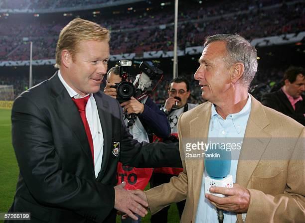 Ronald Koeman Coach of Benfica with Dutch football legend Johann Cruyff before UEFA Champions League Quarter Final second leg match between Barcelona...