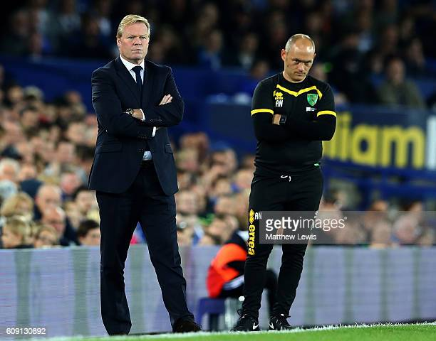 Ronald Koeman Manager of Everton and Alex Neil Manager of Norwich City look on during the EFL Cup Third Round match between Everton and Norwich City...