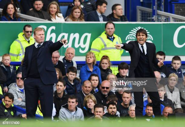 Ronald Koeman Manager of Everton and Antonio Conte Manager of Chelsea give their teams instructions during the Premier League match between Everton...