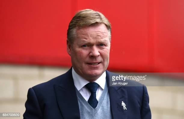 Ronald Koeman Manager of Everton arrives at the stadium prior to the Premier League match between Middlesbrough and Everton at Riverside Stadium on...