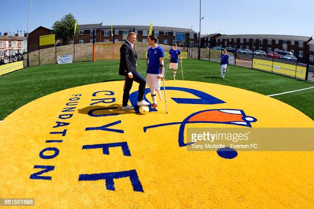 Ronald Koeman manager of Everton attends the opening of the Cruyff Foundation pitch on May 10 2016 in Liverpool England