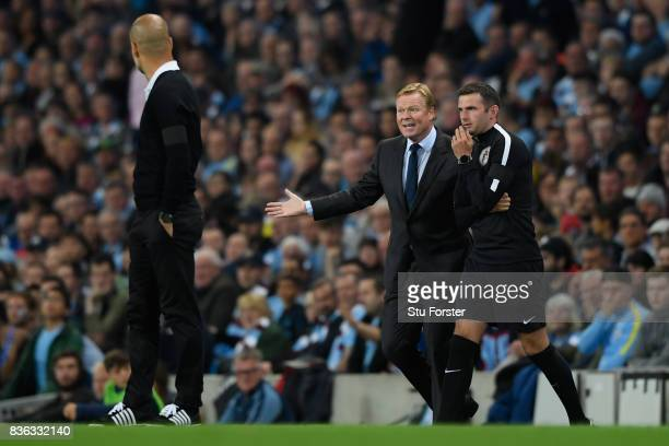 Ronald Koeman Manager of Everton disputes a decision with the fourth official during the Premier League match between Manchester City and Everton at...