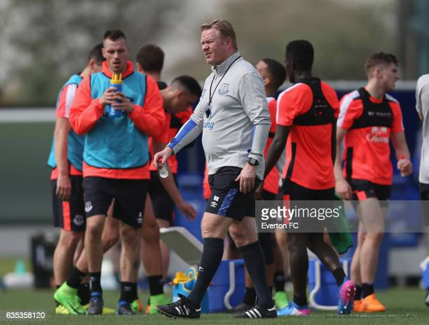 Ronald Koeman Manager of Everton during the Everton FC training session at Nad Al Sheba Sports Complex on February 14 2017 in Dubai United Arab...