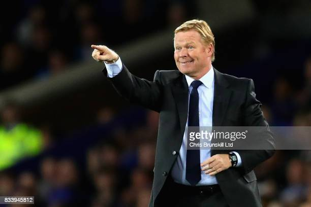 Ronald Koeman Manager of Everton gestures during the UEFA Europa League Qualifying PlayOffs round first leg match between Everton FC and Hajduk Split...