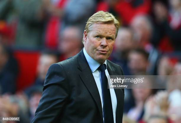 Ronald Koeman Manager of Everton looks dejected after the Premier League match between Manchester United and Everton at Old Trafford on September 17...