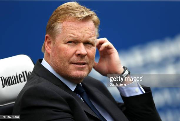 Ronald Koeman Manager of Everton looks on ahead of the Premier League match between Brighton and Hove Albion and Everton at Amex Stadium on October...
