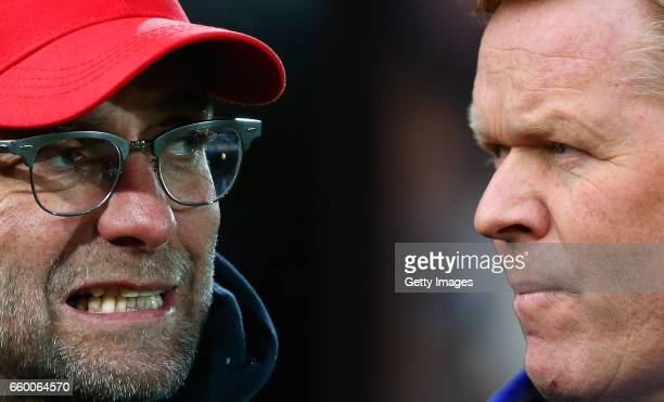 GRADIENT ADDED COMPOSITE OF TWO IMAGES Image numbers 509207282 and 648211146 In this composite image a comparision has been made between Jurgen Klopp...