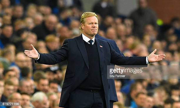 Ronald Koeman Manager of Everton reacts during the Premier League match between Everton and West Ham United at Goodison Park on October 30 2016 in...