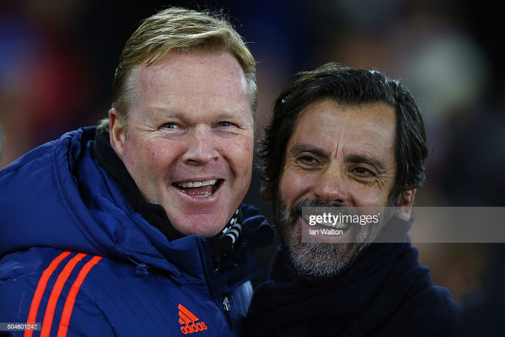 Ronald Koeman (L) manager of Southampton and Quique Flores (R) manager of Watford greet prior to the Barclays Premier League match between Southampton and Watford at St. Mary's Stadium on January 13, 2016 in Southampton, England.