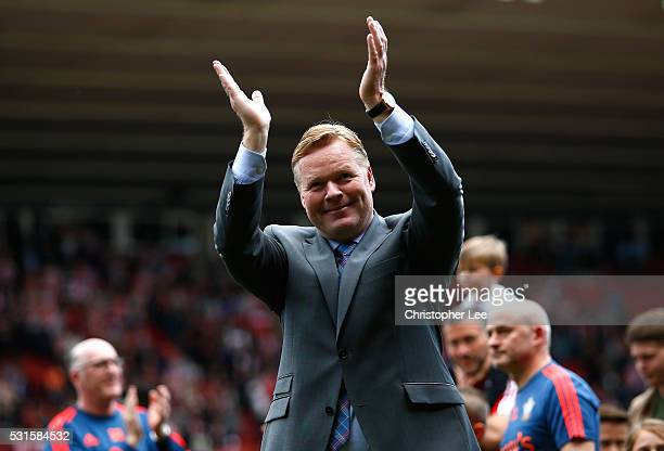 Ronald Koeman manager of Southampton applauds supporters after the Barclays Premier League match between Southampton and Crystal Palace at St Mary's...