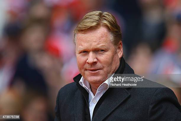 Ronald Koeman manager of Southampton looks on prior to the Barclays Premier League match between Southampton and Aston Villa at St Mary's Stadium on...