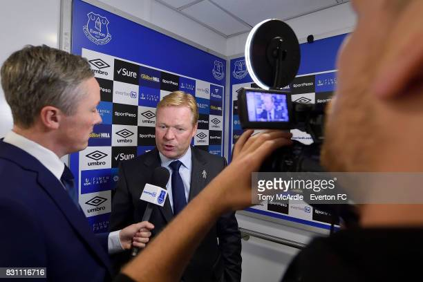 Ronald Koeman of Everton speaks to the press after the Premier League match between Everton and Stoke City at Goodison Park on August 12 2017 in...