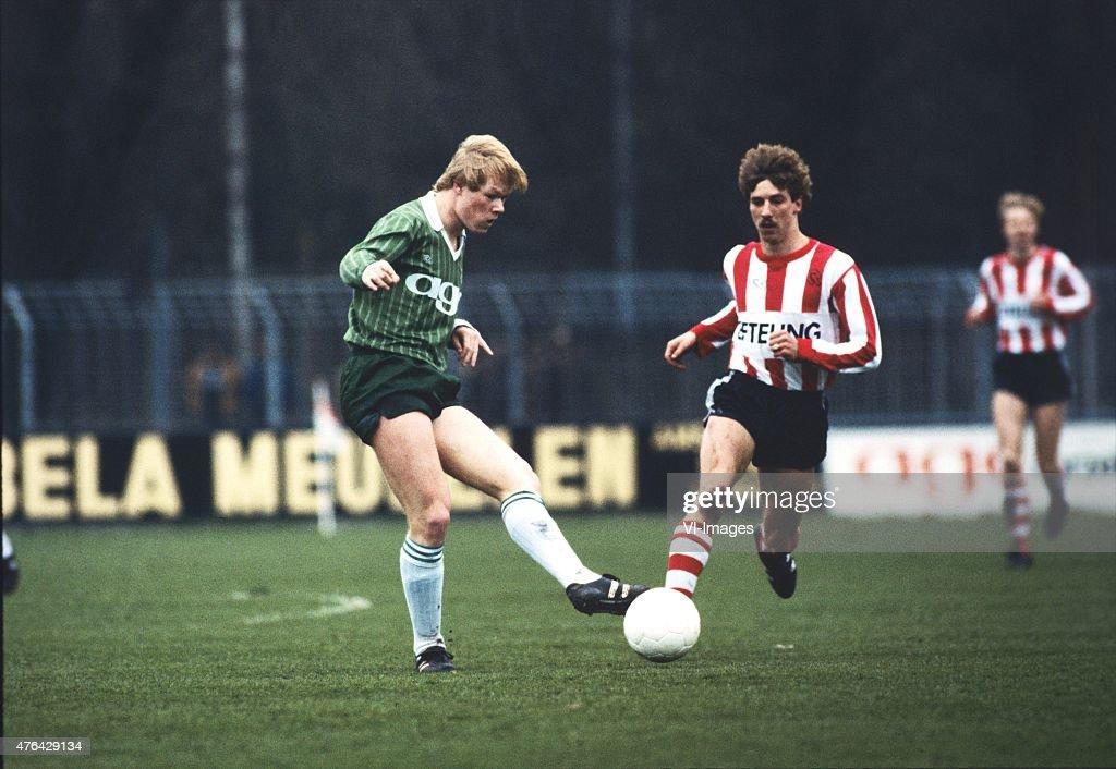 Ronald Koeman of FC Groningen Edwin Olde Riekerink of Sparta during the match between Sparta and FC Groningen in 1983 in Groningen the Netherlands
