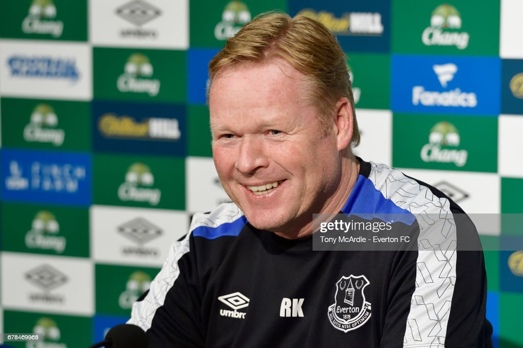 Ronald Koeman speaks to the press during the Everton FC press conference at USM Finch Farm on May 4, 2017 in Halewood, England.