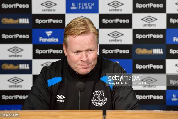 Ronald Koeman speaks to the press during the Everton FC press conference at USM Finch Farm on August 10 2017 in Halewood England