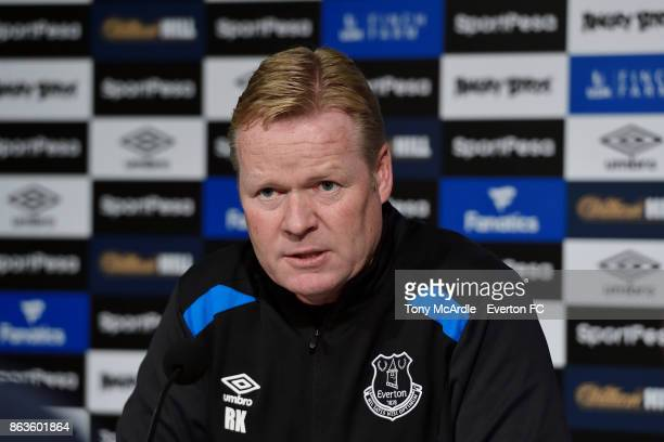 Ronald Koeman speaks to the press during the Everton press conference at USM Finch Farm on October 20 2017 in Halewood England