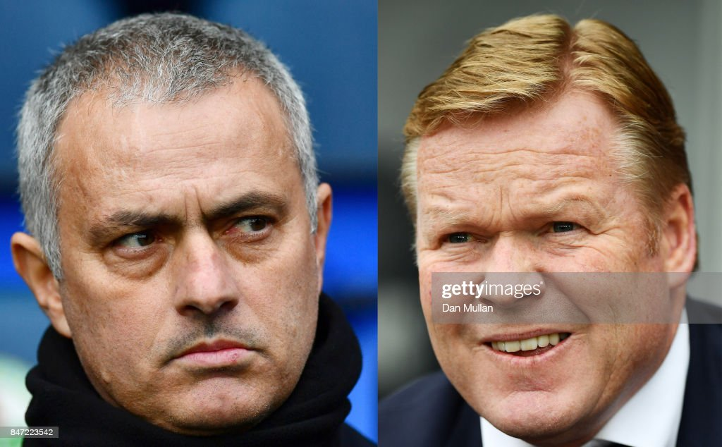 IMAGES - Image numbers (L) 642889996 and 679674950) In this composite image a comparison has been made between Jose Mourinho manager of Manchester United and Everton manager Ronald Koeman. Manchester United and Everton meet in a Premier League match at Old Trafford on September 17, 217 in London. SWANSEA, WALES - MAY 06: Ronald Koeman the Everton manager looks on during the Premier League match between Swansea City and Everton at the Liberty Stadium on May 6, 2017 in Swansea, Wales.