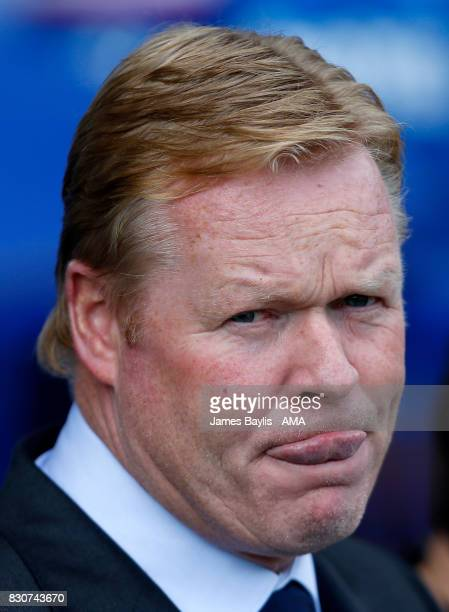 Ronald Koeman the manager of Everton during the Premier League match between Everton and Stoke City at Goodison Park on August 12 2017 in Liverpool...