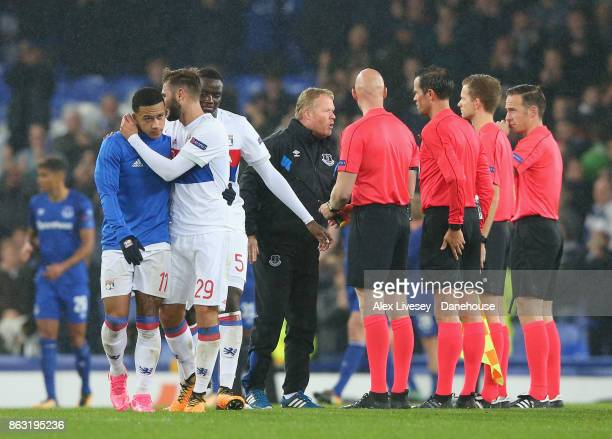 Ronald Koeman the manager of Everton FC approaches the officials after the UEFA Europa League group E match between Everton FC and Olympique Lyon at...