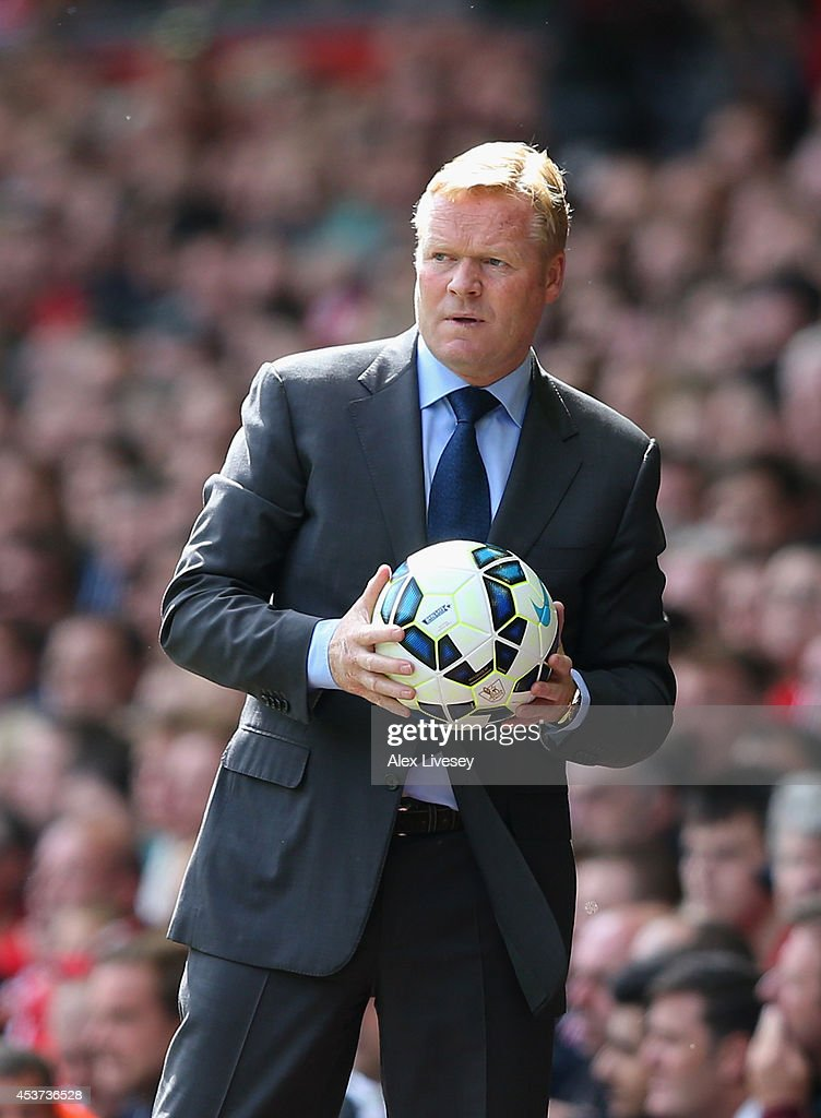 <a gi-track='captionPersonalityLinkClicked' href=/galleries/search?phrase=Ronald+Koeman&family=editorial&specificpeople=652522 ng-click='$event.stopPropagation()'>Ronald Koeman</a> the manager of Southampton looks on during the Barclays Premier League match between Liverpool and Southampton at Anfield on August 17, 2014 in Liverpool, England.