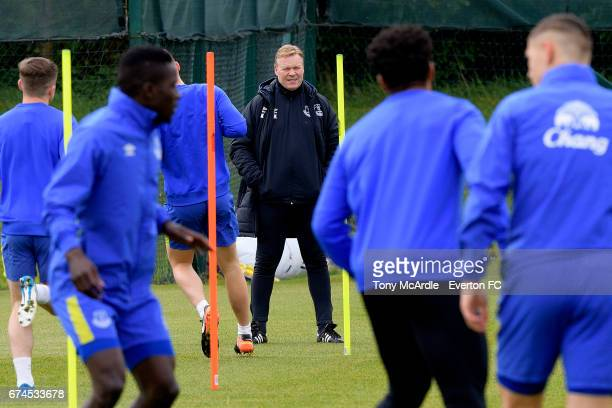 Ronald Koeman watches his players during the Everton FC training session at USM Finch Farm on April 28 2017 in Halewood England