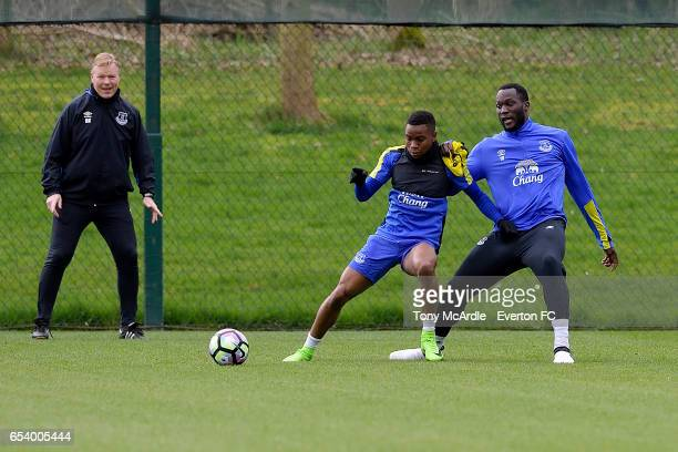 Ronald Koeman watches over Ademola Lookman and Romelu Lukaku during the Everton FC training session at USM Finch Farm on March 16 2017 in Halewood...