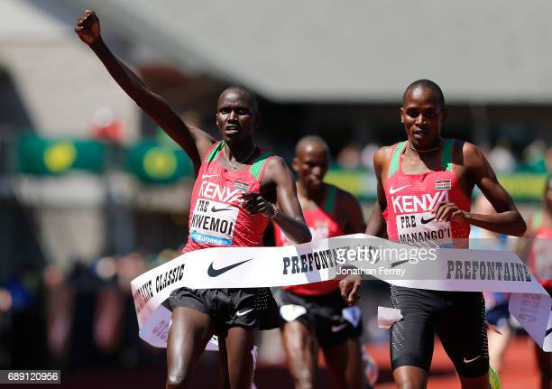 Ronald Kwemoi of Kenya celebrates winning the Bowerman Mile during the 2017 Prefontaine Classic Diamond League at Hayward Field on May 27 2017 in...