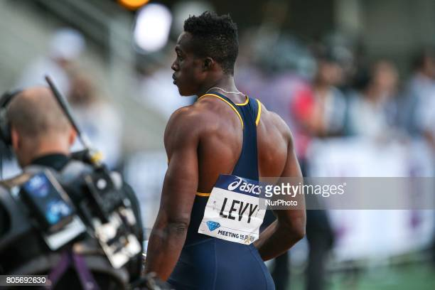 Ronald Levy of Jamaica wins the men's 110 meters hurdles within the the International Association of Athletics Federations Diamond League in Paris...