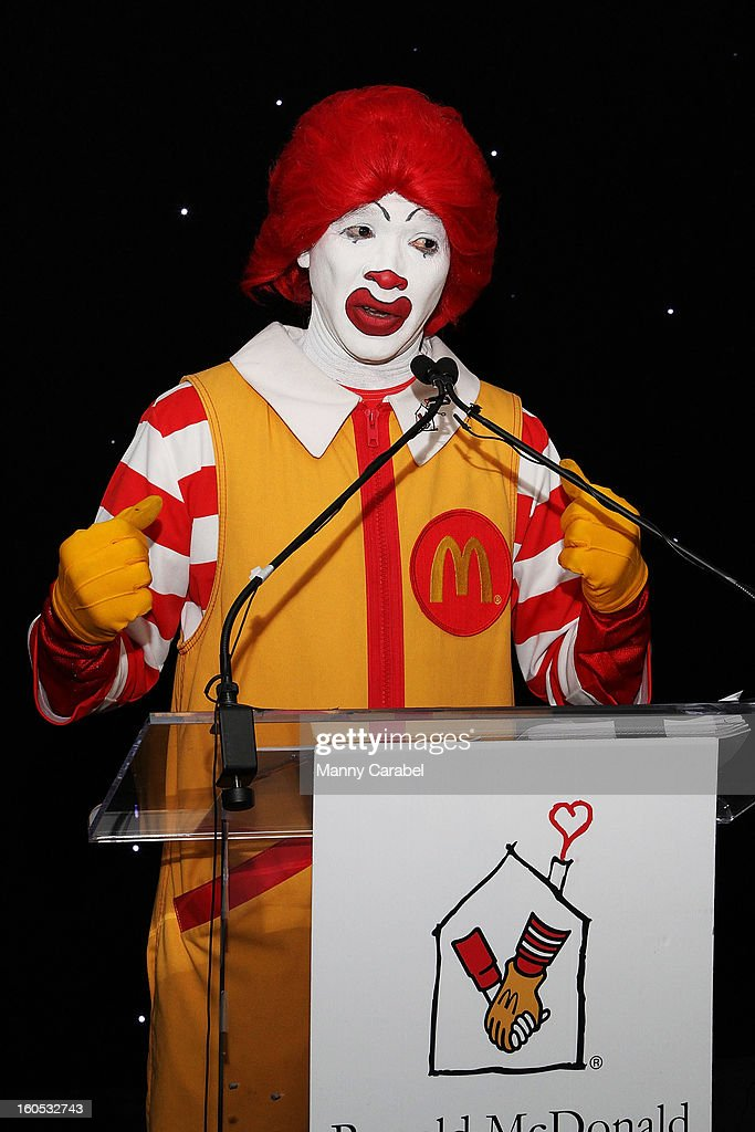 Ronald McDonald attends The New York Rangers 19th Annual 'Skate With The Greats' Event Benefiting The Ronald McDonald House New York at The Rink at Rockefeller Center on February 1, 2013 in New York City.
