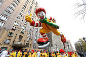 Ronald McDonald balloon floats at the 88th Annual Macys Thanksgiving Day Parade at on November 27 2014 in New York New York