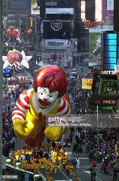 Ronald McDonald ballooon floats through Times Square during the 76th annual Macy's Thanksgiving Day Parade An estimated 25 million people lined the...
