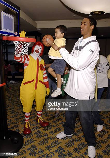 Ronald McDonald Jon Dre and Channing Frye during Richard Jefferson and Channing Frye Visit The Ronald McDonald House in New York City at Ronald...