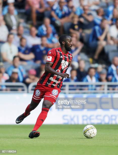 Ronald Mukibi of Ostersunds FK during the Allsvenskan match between Djurgardens IF and Ostersunds FK at Tele2 Arena on July 23 2017 in Stockholm...