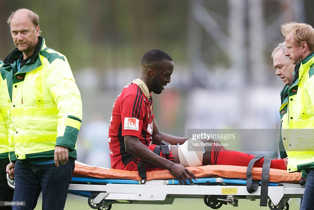 Ronald Mukilbi of Ostersunds FK injured during the Allsvenskan match between Ostersunds FK and Malmo FF at Jamtkraft Arena on May 28, 2016 in Ostersund, Sweden.