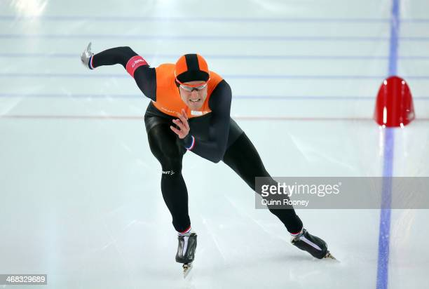 Ronald Mulder of the Netherlands competes during the Men's 500 m Race 2 of 2 Speed Skating event during day 3 of the Sochi 2014 Winter Olympics at...