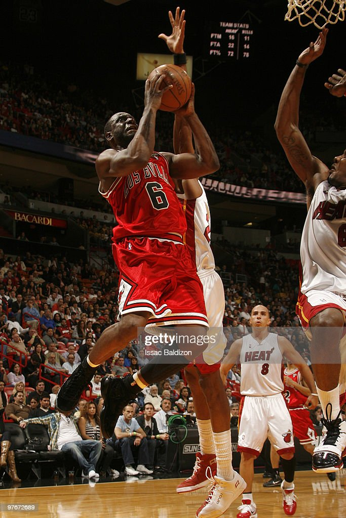 Ronald Murray #6 of the Chicago Bulls shoots against the Miami Heat on March 12, 2010 at American Airlines Arena in Miami, Florida.