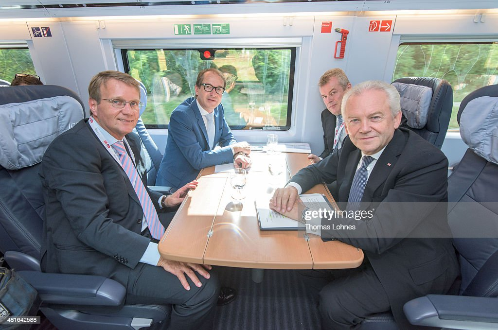 Ronald Profalla of Deutsche Bahn, Transport and Digital Technologie Mininister Alexaner Dobrindt (CSU), Siemens AG, Jochen Eickholt and Deutsche Bahn CEO Ruediger Grube sit in the new ICE on July 23, 2015 in Frankfurt am Main, Germany. The new ICE 3 in the Franco-German high-speed rail has been officially launched with a trip from Frankfurt to Paris.