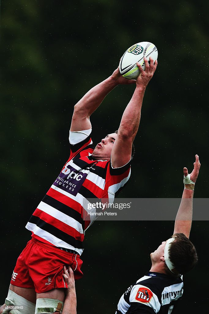 Ronald Raaymakers of the Counties Manukau Steelers wins lineout ball during the ITM Cup rugby game between the Counties Manukau Steelers and the Hawke's Bay Magpies at ECOLight Stadium on August 30, 2014 in Pukekohe, New Zealand.