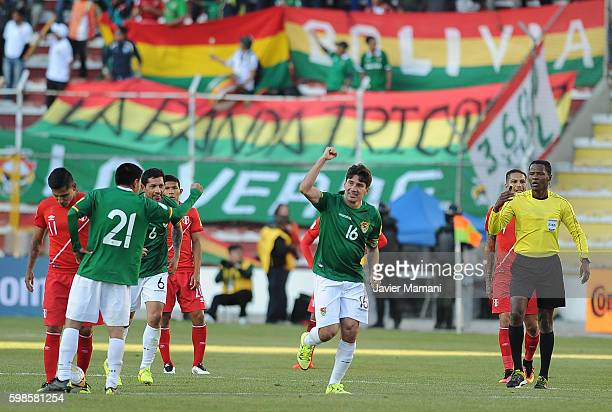 Ronald Raldes of Bolivia celebrates after scoring the second goal of his team during a match between Bolivia and Peru as part of FIFA 2018 World Cup...