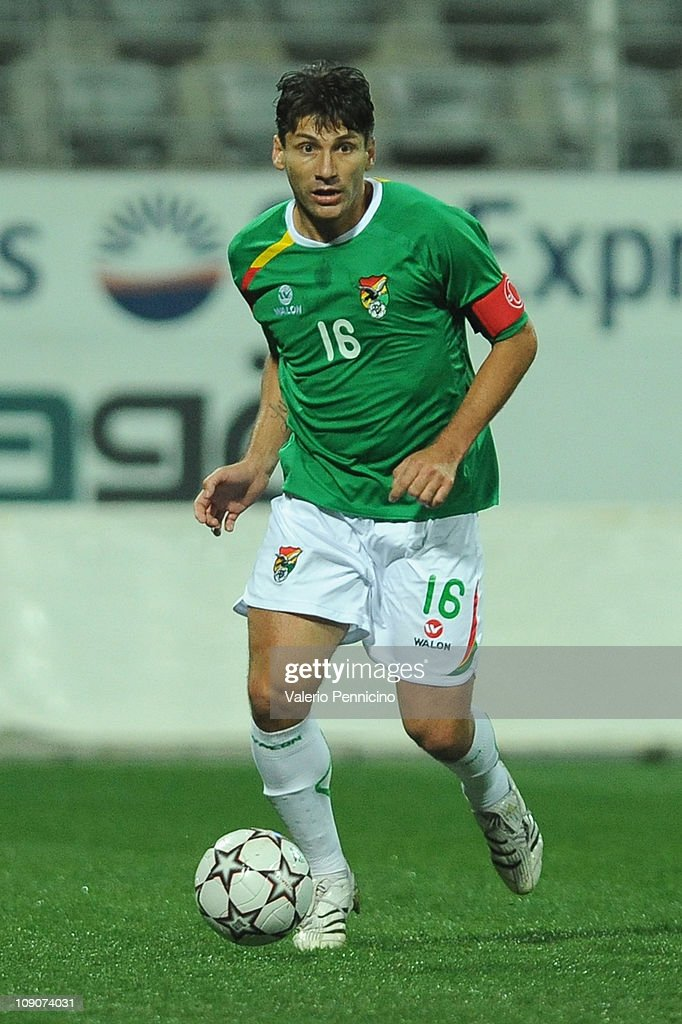 Ronald Raldes of Bolivia in action during the international friendly match between Latvia and Bolivia at Mardan Sports Complex stadium on February 9...