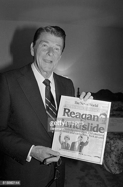Ronald Reagan beat President Jimmy Carter handily on November 4 Reagan is shown holding a November 4th copy of The News World predicting his...