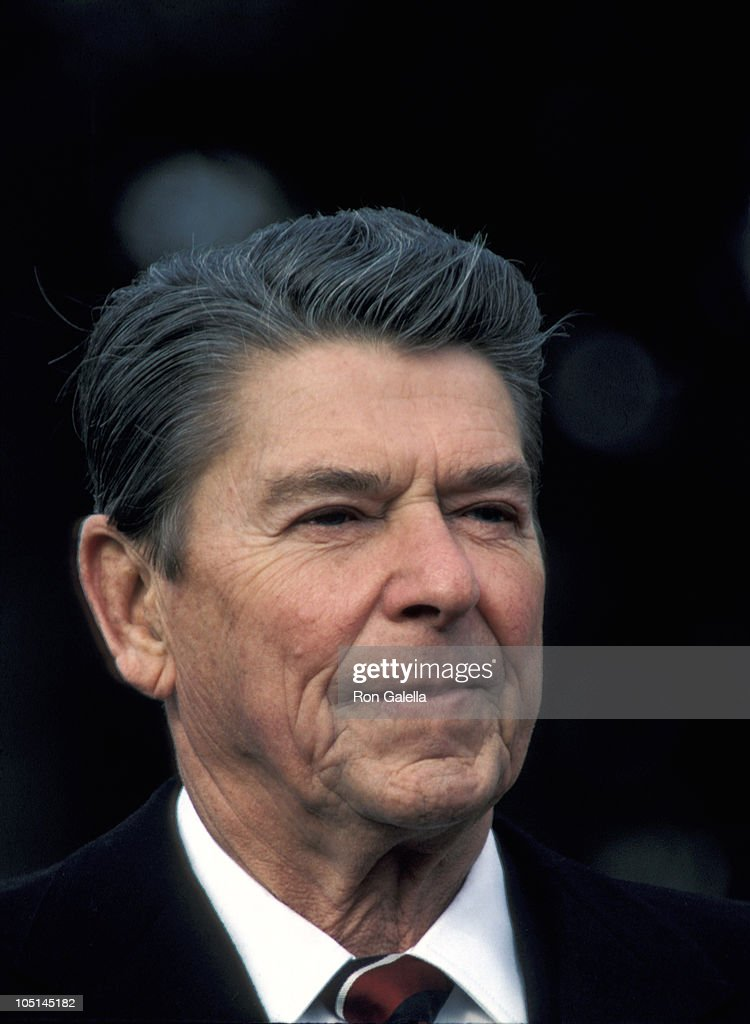 Ronald Reagan during White House Press Conference at White House in Washington DC United States