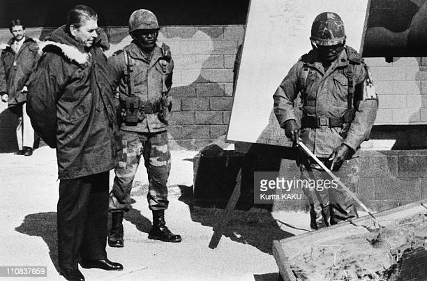 Ronald Reagan In South Korea On November 13 1983 Ronald Reagan visiting US troops manning South Korean section of the DMZ ** NB 206904 **